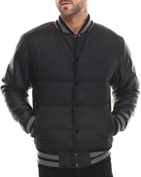 Akademiks - Men Black Valentine 2-Tone Padded Cire Jacket