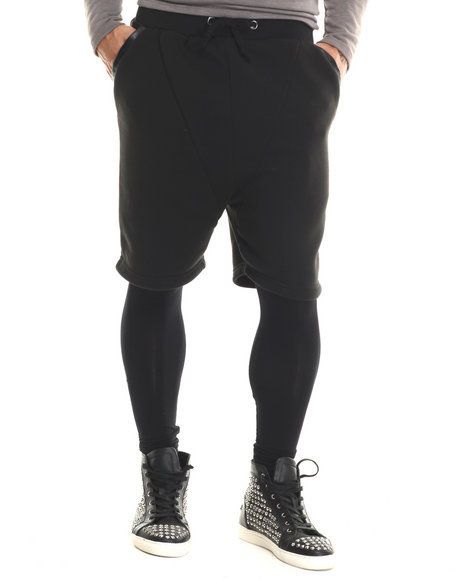 Buyers Picks - Men Black Cotton Shorts Leggings With Vegan Leather Trim - $46.99