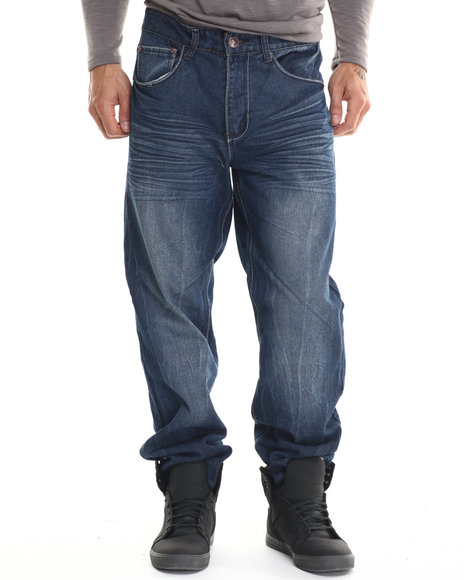Basic Essentials - Men Medium Wash Ornate Flap - Pocket Denim Jeans