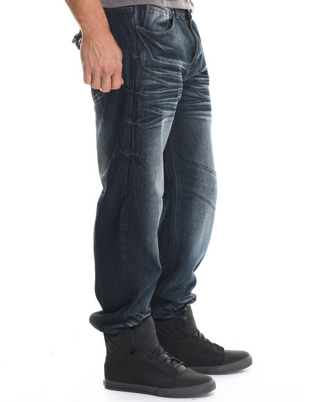 Basic Essentials - Men Dark Wash Whiskered Chevron Flap - Pocket Denim Jeans