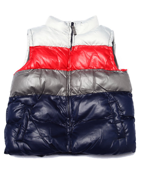 Arcade Styles - Boys Grey Color Blocked Quilted Vest (4-7)