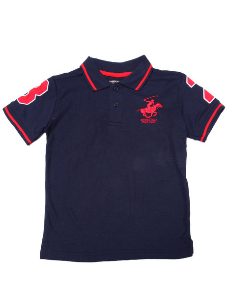Arcade Styles - Boys Navy Solid Polo W/ Back Applique (4-7)