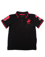 Tops - SOLID POLO W/ BACK APPLIQUE (4-7)