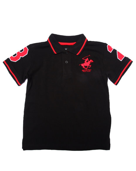 Arcade Styles - Boys Black,Black Solid Polo W/ Back Applique (4-7) - $13.99