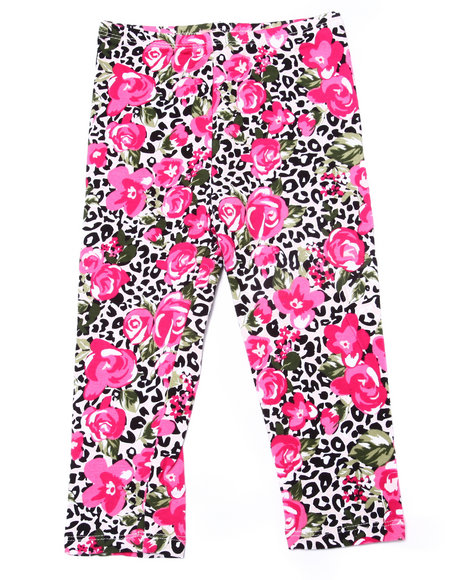 La Galleria - Girls Pink Leopard & Floral Print Legging (2T-4T)
