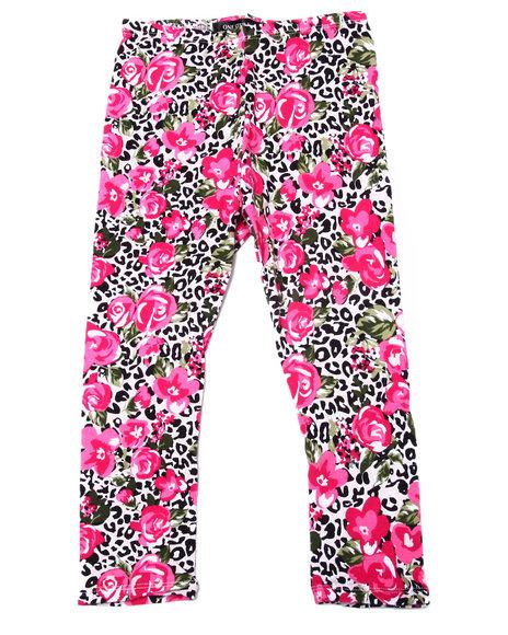 La Galleria - Girls Pink Leopard & Floral Print Legging (4-6X)