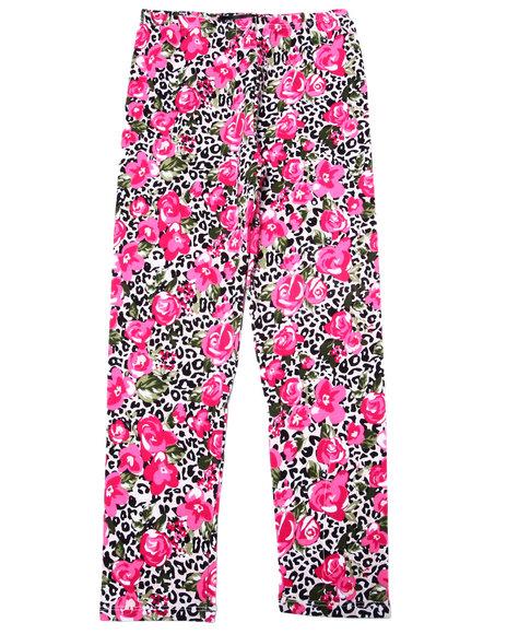 La Galleria - Girls Pink Leopard & Floral Print Legging (7-16)