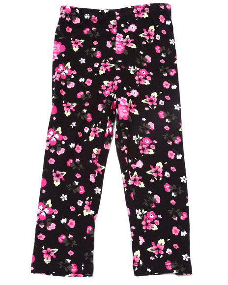 La Galleria - Girls Black Floral Print Legging (2T-4T) - $5.99