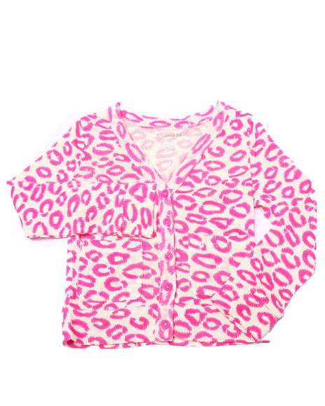 La Galleria - Girls Cream,Pink Allover Print L/S Cardigan (4-6X)