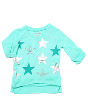 Girls - Foil & Stud Stars 3/4 Sleeve Top (2T-4T)