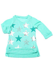 Girls - Foil & Stud Stars 3/4 Sleeve Top (4-6X)