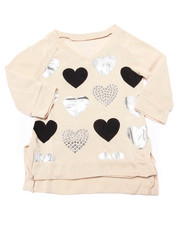 Girls - Foil & Stud Hearts 3/4 Sleeve Top (4-6X)