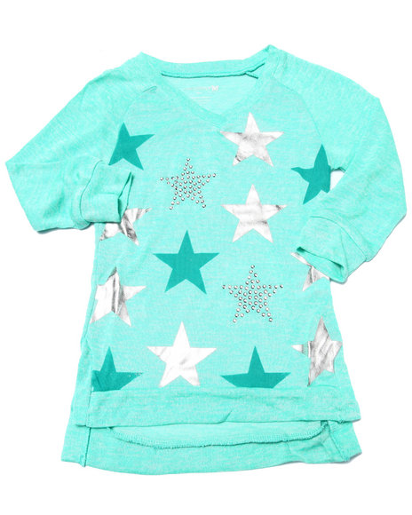La Galleria - Girls Green Foil & Stud Stars 3/4 Sleeve Top (7-16)