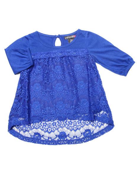 La Galleria - Girls Blue Crochet Lace Peasant Top (4-6X)