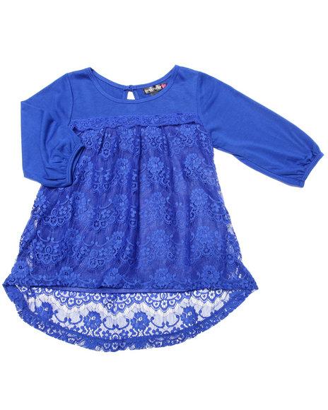 La Galleria - Girls Blue Crochet Lace Peasant Top (7-16)