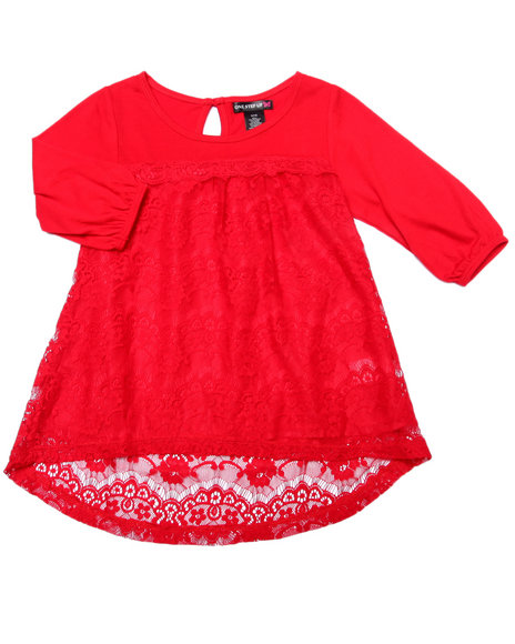 La Galleria - Girls Red Crochet Lace Peasant Top (7-16)
