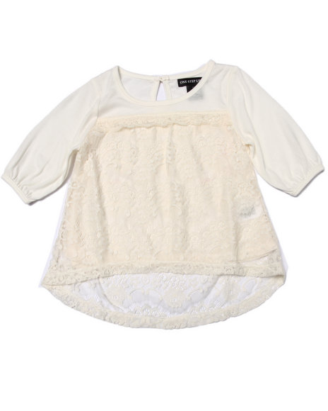 La Galleria - Girls Cream Crochet Lace Peasant Top (4-6X)
