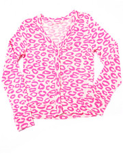 Girls - Allover Print L/S Cardigan (7-16)