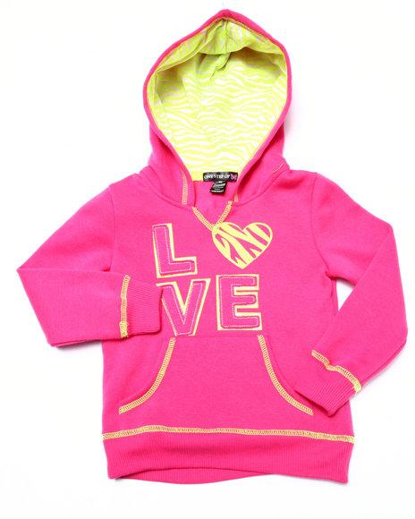 La Galleria - Girls Pink Love Zebra Print Hoodie (4-6X)