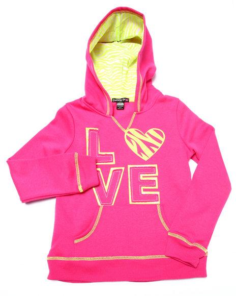 La Galleria - Girls Pink Love Zebra Print Hoodie (7-16)