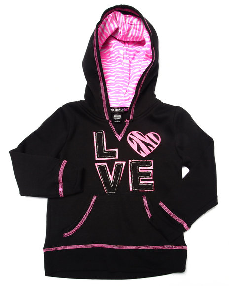 La Galleria - Girls Black Love Zebra Print Hoodie (4-6X)