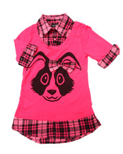 Sizes 7-16 - Big Kids - Bunny w/ Bow 2fer Shirt (7-16)
