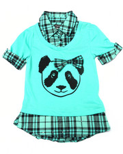 Tops - Panda w/ Bow 2fer Shirt (4-6X)