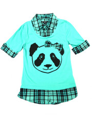 Tops - Panda w/ Bow 2fer Shirt (7-16)
