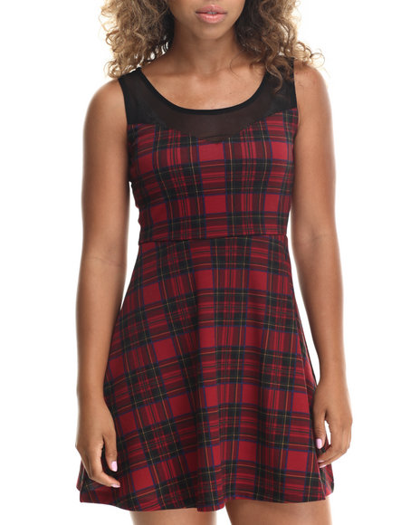 Ali & Kris - Women Black,Red Plaid Printed Ponte Illusion Skater Dress