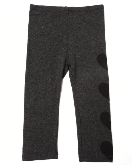 La Galleria - Girls Charcoal Side Hearts Legging (2T-4T)