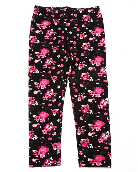 La Galleria - Girls Black Floral Print Legging (4-6X)