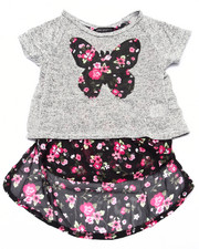Girls - Butterfly Floral Print Open Back 2fer Top (4-6X)