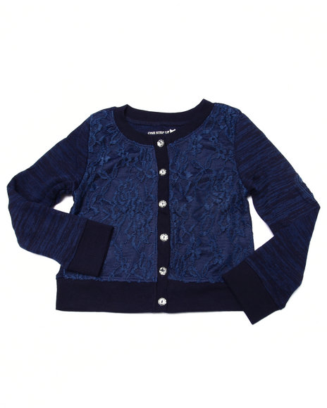 La Galleria - Girls Navy Lace Heart Elbow Patch Cardigan (4-6X)