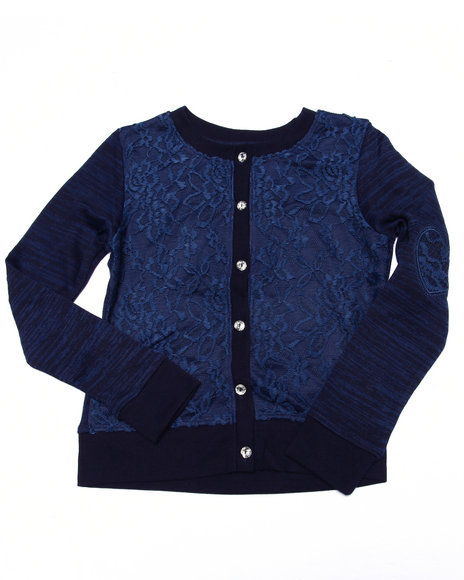 La Galleria - Girls Navy Lace Heart Elbow Patch Cardigan (7-16)