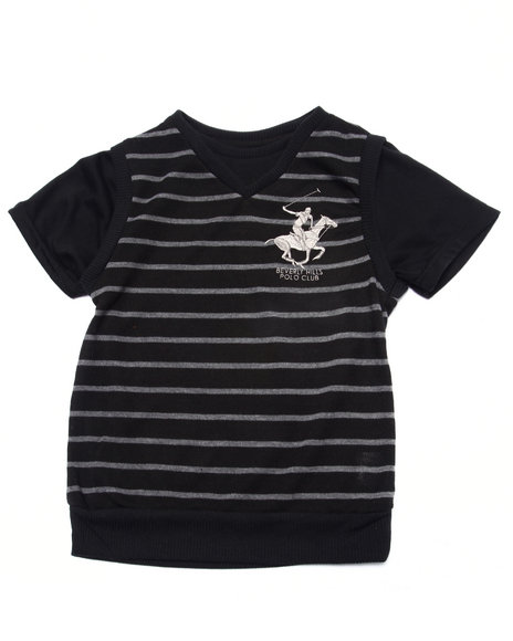 Arcade Styles - Boys Black Hacci Sweater Knit Twofer (4-7) - $12.99