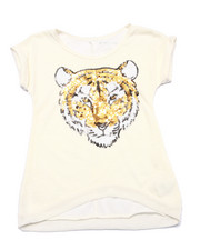 Girls - Sequin Tiger Slub Tee (7-16)