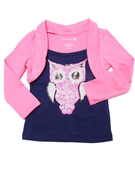 La Galleria - Girls Navy,Pink Sequin Owl Shrug Top (2T-4T)