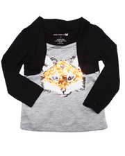 Girls - Sequin Fox Shrug Top (2T-4T)