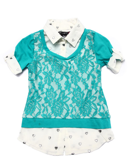 La Galleria - Girls Cream,Teal Lace Front 2Fer Top (4-6X)