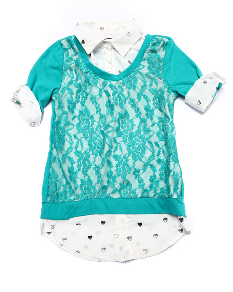 La Galleria - Girls Cream,Teal Lace Front 2Fer Top (7-16)