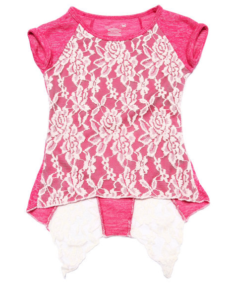 La Galleria - Girls Pink Lace Overlay Drape Back Top (4-6X)