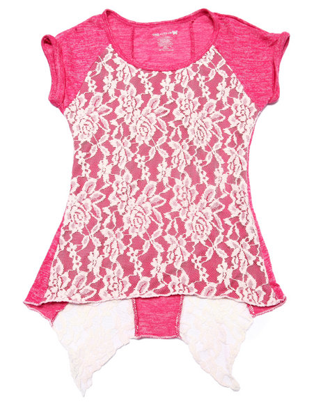 La Galleria - Girls Pink Lace Overlay Drape Back Top (7-16)