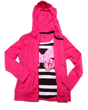 Girls - Butterfly Sequin 2fer Zip Up Hoodie (4-6X)