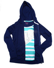 Girls - Heart Sequin 2fer Zip Up Hoodie (7-16)