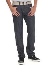 Men - Stitch'd Belted Raw Denim Jeans