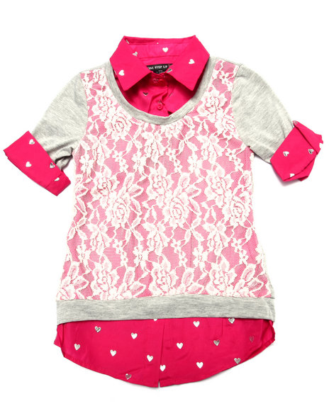 La Galleria - Girls Grey,Pink Lace Front 2Fer Top (7-16)