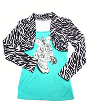 La Galleria - Sequin Zebra Shrug Top (7-16)