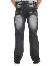 Men - Metallic Faux Leather Star Trim Straight Fit Denim Jeans