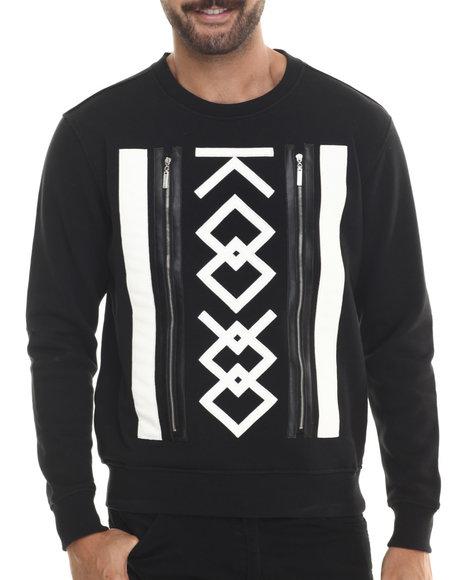 Ur-ID 188273 Koodoo - Men Black Front - Zipper Applique Crewneck Sweatshirt