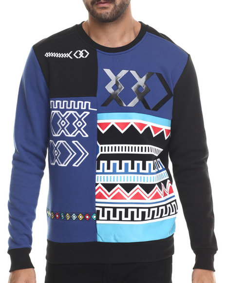 Blue,Multi Pullover Sweatshirts